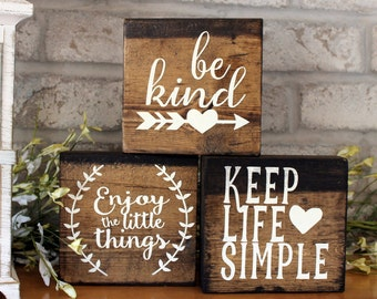 Set of 3 Blocks - Wood Sign Home Decor - Wood Signs With Sayings - Inspirational Quote - Wooden Sign With Sayings - Wooden Signs with Quotes