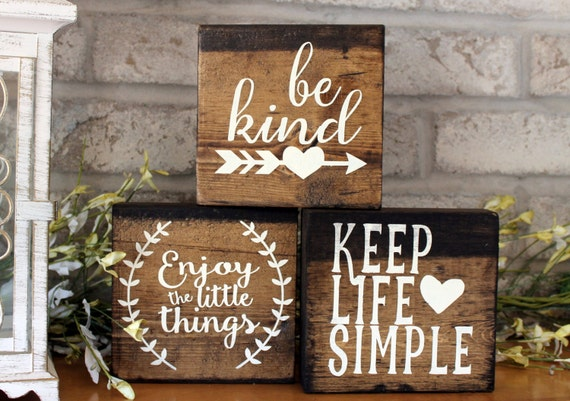 Set Of 3 Blocks Wood Sign Home Decor Wood Signs With