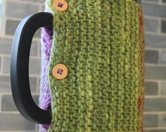 Handknit Rustic Color-Changing French Press Cozy