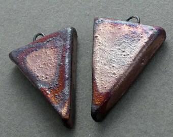 Urban Industrial Tribal Raku Earring Shield Earrings