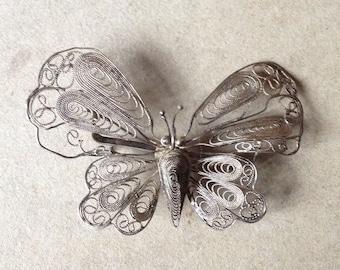 Filigree silver butterfly