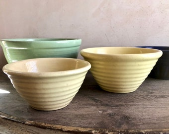 2 Pc Garden City Pottery RingWare Mixing Bowl Set, Ring Ware Pottery Nesting Bowls, Butter Yellow Bowl