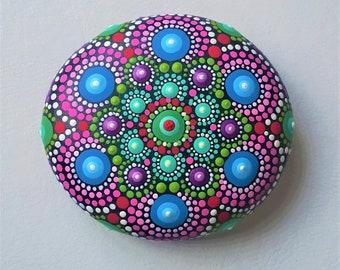 Jewel Drop Mandala Stone Elspeth Mclean Art Beach Dot Art Painted Stone Healing Grids Terrariums Positive Energy Rock Lotus