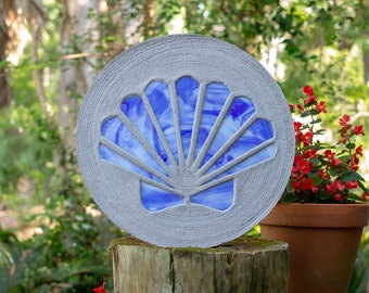 Blue Scallop Shell Stained Glass Stepping Stone #870
