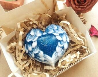 Angel wings soap, angel soap, heart soap, blue heart soap, wings soap, romantic soap, love soap, valentines soap, gift for her, glitter soap