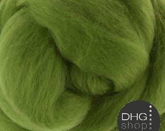 "Superfine merino, 19 microns,""Leaf"" green wool roving, sliver, tops"