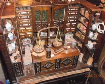 Rare antique German  tea shop ca. 1880, Wooden Tea Shop, Dollhouse size, Dollhousedoll, Handmade, UNIQUE