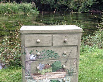 SOLD-SOLD-SOLD Frog and Toad Fishing 4 Drawer Dresser/Up-cycled/Château Grey Annie Sloan Chalk Paint/Hand Drawn/Acrylics