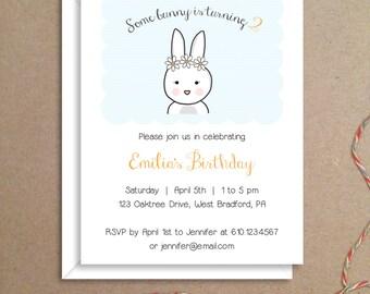 Party Invitations - Bunny Invitations - Birthday Party Invitations - Illustrated Invitations - Custom Invitations