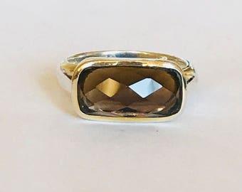 Superb chunky vintage Sterling silver Smokey Quartz ring