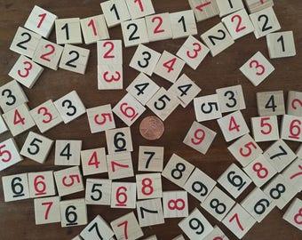 Sudoku Number Tiles, Lot of of 90, Wooden Number Tiles, Square Number Tiles