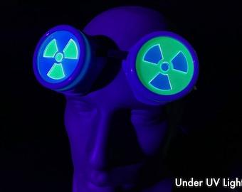 Blue Cybergoth Goggles with UV Green / UV Blue Radiation / Radioactive Symbol Lenses