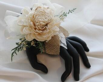 Sola Flower Wrist Corsage, Sola Wood Corsage, Sola Corsage, Bridesmaid Corsage, Cream Wrist Corsage, Ivory Wrist Corsage, Champagne Corsage