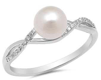 Women 7mm 925 Sterling Silver Freshwater Cultured Pearl CZ Ladies Ring Band(SNRC105861)