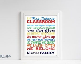 TEACHER GIFT - Teacher's Name - Classroom - Classroom Art – Personalized Sign – In This Classroom  - Primary Colors - Motivational