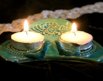 Shabbat Candle Holder, Love birds candles , Shabbos candles ,ceramic shabbat candles ,Jewish wedding gift