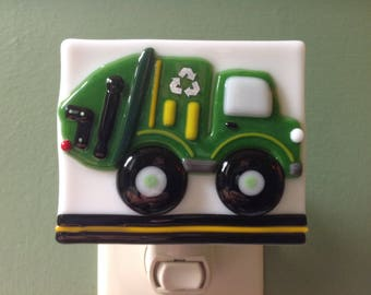 Trash Truck, Recycle, Boy's, Night Light, Garbage Truck, Truck, Fused Glass, Green