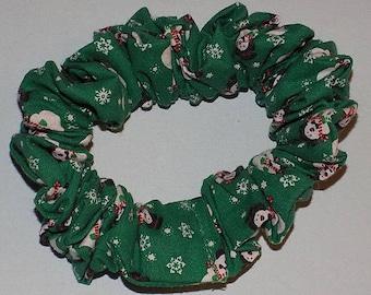 Christmas Hair Scrunchie Snowmen & Snowflakes on Green