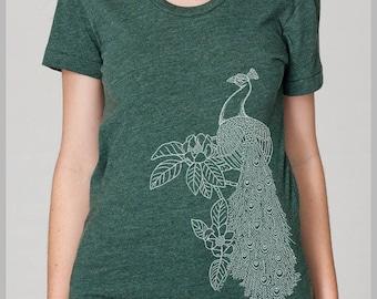 Women's Peacock Flower Shirt Women's Bird T Shirt American Apparel Ladies shirt Feathers Shirt Gift for Girlfriend Women's t-shirt