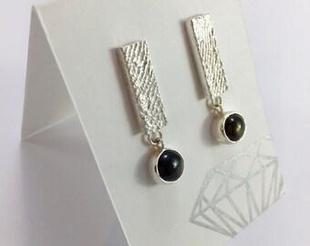 Star Sapphire & Cuttlefish Earrings