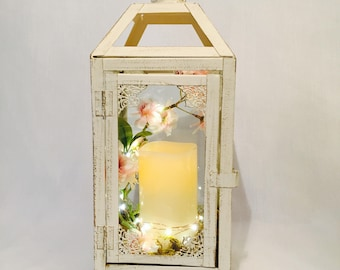 Small Wedding Lantern / Wedding Decor / pink and white lantern / lantern with candle / Wedding centrepiece / hanging lantern
