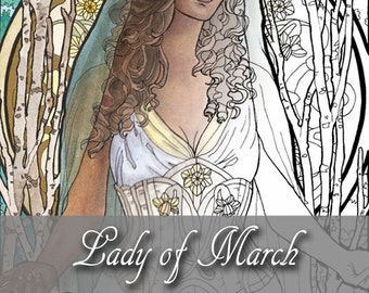 Printable Coloring Book Page for Adults - Lady of March with Easter Daffodil Flowers and Veil in Art Nouveau Style Line Art