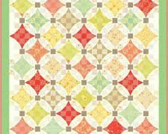 Ella & Ollie Quilt Kit by Fig Tree and Co. for Moda summery red blues greens yellows flowers dots KIT20300