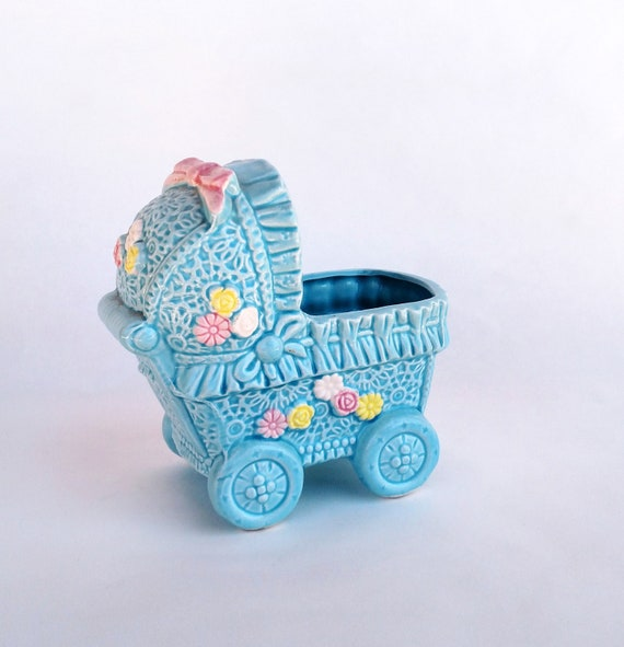 Vintage Ceramic Baby Carriage Planter Container Made in Japan