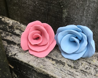 Rosy Pink and Sky Blue Clay Roses Set Of 2