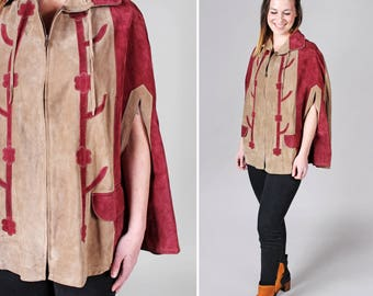 Vintage 1960's Leather Poncho - Suede Red Tan Brown Floral Color Block One Size Boho Bohemian Hippie Cape Jacket Fall - One Size Fits Most