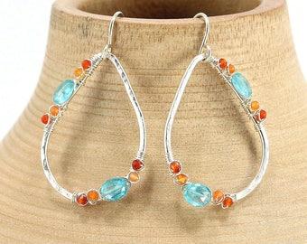 Sterling Silver Hoop Earrings, Gemstone Earrings, Sterling Silver Earrings, Apatite Earrings, Carnelian Earrings, Tear Drop Earrings