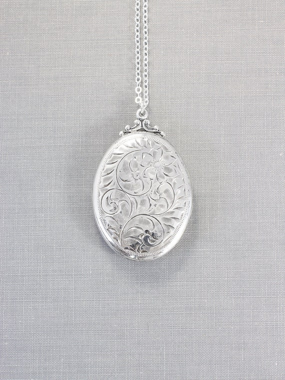 1940's Birks Sterling Silver Locket Necklace, Vintage Hand Chased Large Oval Pendant - Quite Perfect