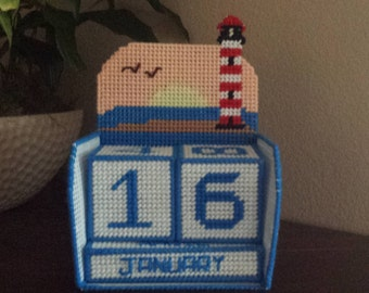 Handmade Finished Perpetual Desktop Calendar Lighthouse Sunset
