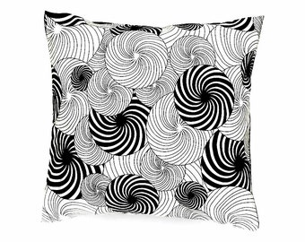 Decorative pillow, Retro cushion cover, vintage print fabric,black and white, throw pillow, geometric design, home accessories, home decor