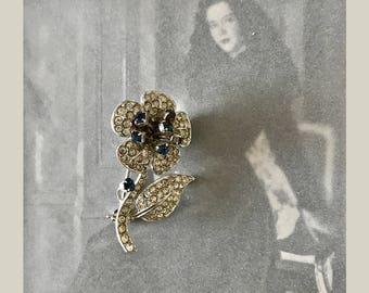 Austria Signed Silver Tone Clear Blue Rhinestones Vintage Flower Brooch
