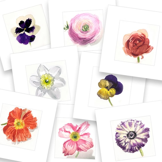 Watercolor flower painting-Pink Ranuncula- original by Gretchen Kelly
