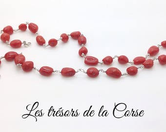 Cotton red bodied genuine Silver 925 necklace