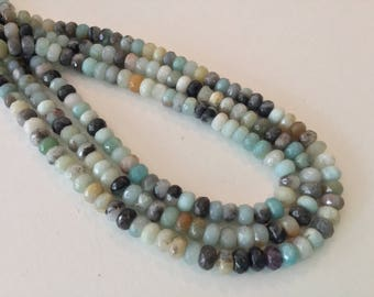 Amazonite Faceted Rondelle 4x6mm