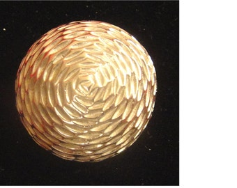 Vintage Silver Tone Textured Metal Domed Brooch Pin (1429)