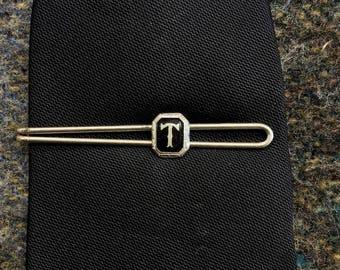 "Vintage 1930s 1940s Initial ""T"" Tie Bar"