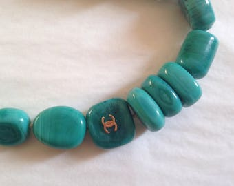 CHANEL - Stone necklace hard turquoise circa 1990