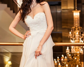 Sweetheart Illusion Wedding Dress,Bohemian Wedding Dress, Hippie Wedding Dress,Beach Wedding Dress, Vintage Wedding Dress,Boho Wedding Dress
