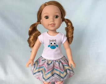 Owl T-Shirt and Gray Chevron Skirt for Wellie Wisher/14.5 Inch Doll