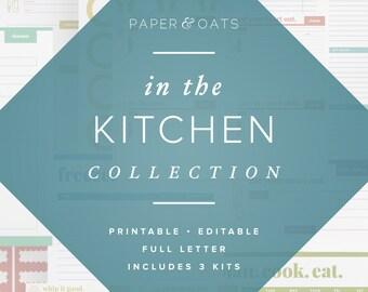Kitchen Planner Pack of 3 Kits, Menu Planning, Recipe Box Cards, Pantry Labels, Pantry Organization, Recipe Binder Kit, Meal Planner Sheet