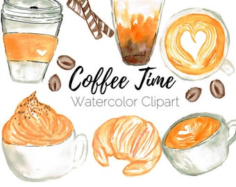 Coffee Clip Art - Cafe Clip Art - Food clip art -  Watercolor Clip Art - Commercial Use