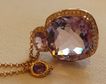 18 K Rose gold diamond and amethyst pendant with 17' inches chain