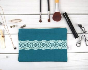 Linen Lace clutch zipper pouch medium size - ZOE in Deep Lake- vintage cotton lace, linen cosmetic bag, passport case