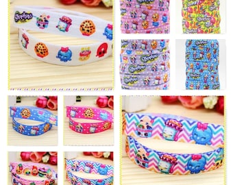 Fold Over Elastic Yoga / Ponytail Hair Ties x 30 - Party Favors - Thank you Gifts - Shopkins