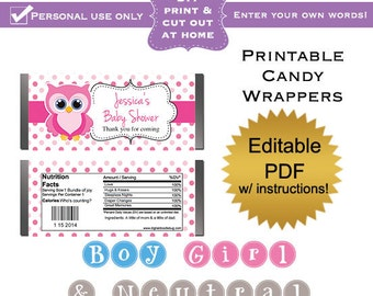 DIY editable printable candy wrappers (No.3) owl girl boy and gender neutral baby shower favors PDF Digital File