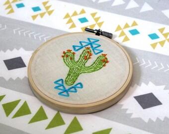 Aztec Cactus Hand Embroidered 4in Hoop